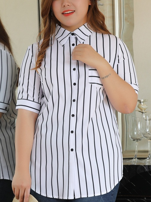Luellyn Stripe Shirt Blouse (EXTRA BIG)