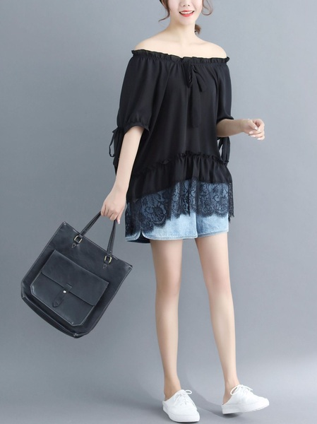 Lylia Ribbon Lace Hem Chiffon Blouse (EXTRA BIG)