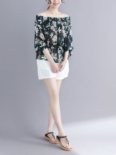 Luxi Off Shoulder Chiffon Floral Blouse (EXTRA BIG)