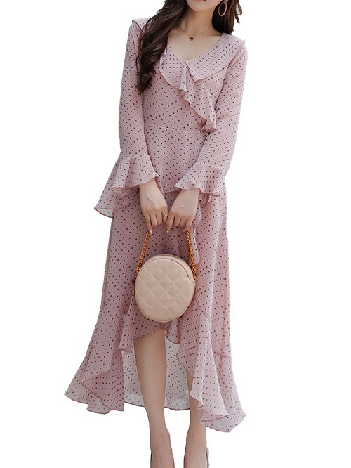 Madja Pink Polka Dots Frill Wrap Midi-Maxi Dress