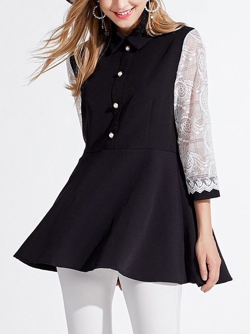 Macy Lace Button Shirt Blouse