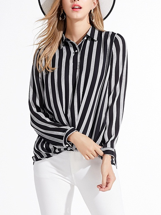 Maddie Wrap Stripe Shirt Blouse