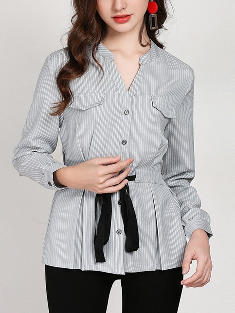 Maddysun Stripe Ribbon Waist Blouse