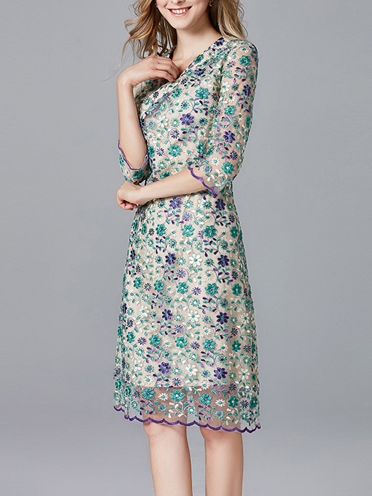 Magdalena Purple Green Wrap Embroidery Dress