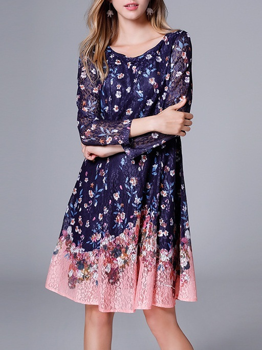 Maeoni Long Sleeve Floral Lace Dress