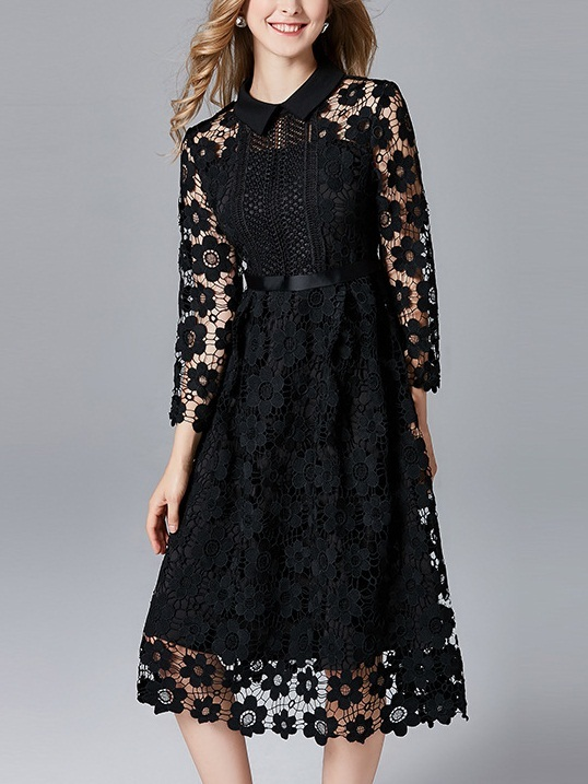 Maëlys Floral Crochet Midi Shirt Dress (2 COLOURS)