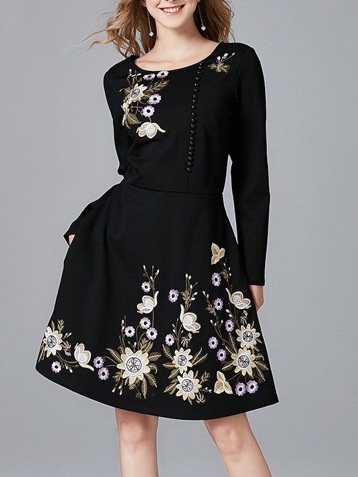 Maelyn Embroidery Floral Button Dress