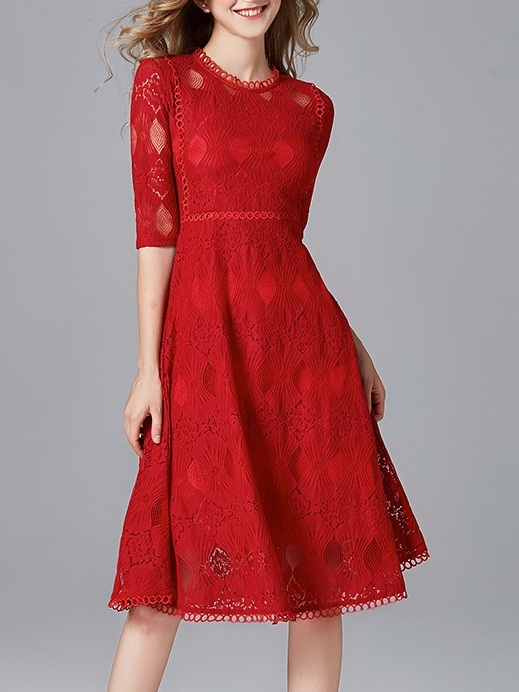Maelona Red Lace Panel Swing Midi Dress