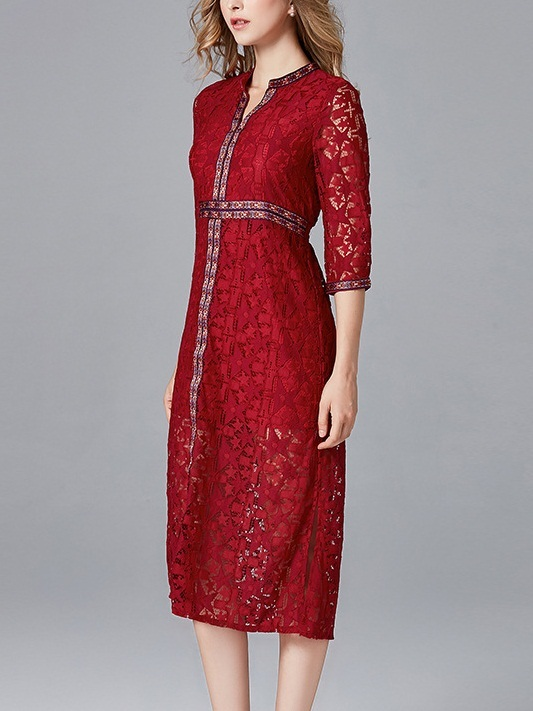 Maëlly Tapestry Red Lace Midi Dress