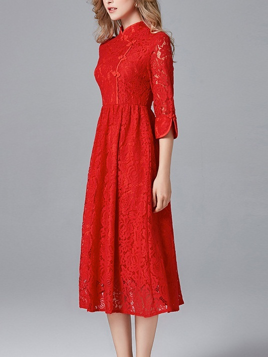 Maelie Midi Red Qipao Dress