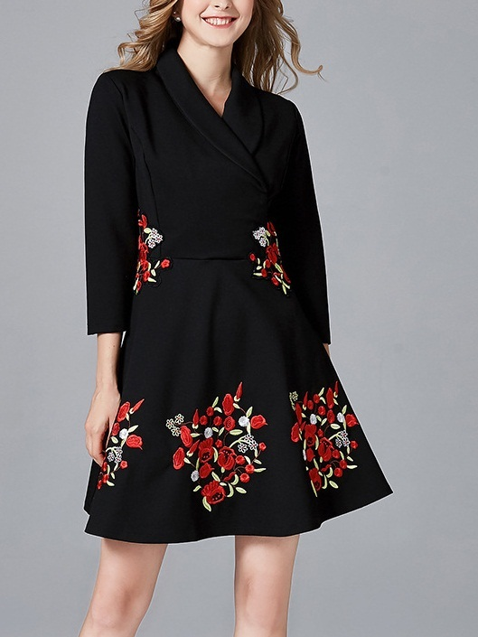 Maeliana Floral Embroidery Wrap Dress