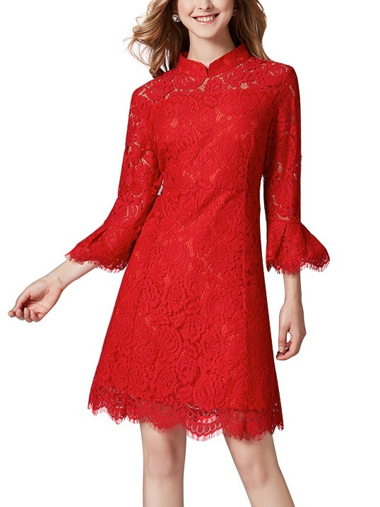 Maegen Bell Sleeve Red Qipao Cheongsam Dress