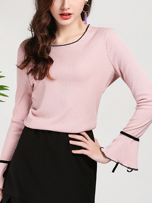 Maiah Knit Bell Sleeve Pink Top