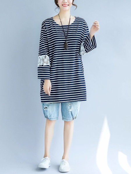 Malena Stripe Lace L/s Top