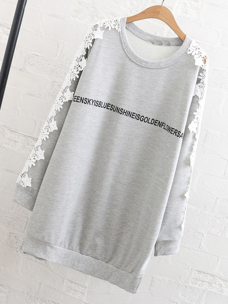 Maliana Fleece-inside Words Lace Sleeve Sweater