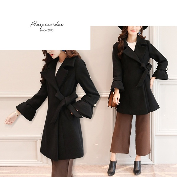 Mandana Bell Sleeve Woolen Winter Coat Jacket