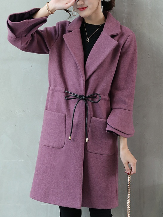 Malysa Woolen Waist Tie Winter Coat