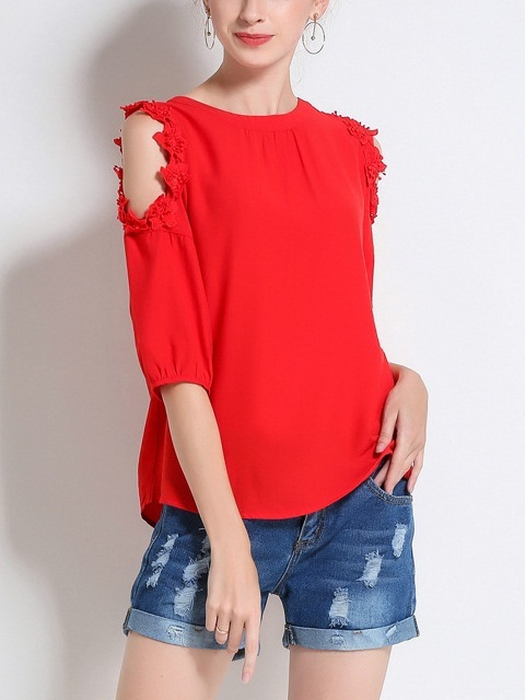 Marga Off Shoulder Red Crochet Top
