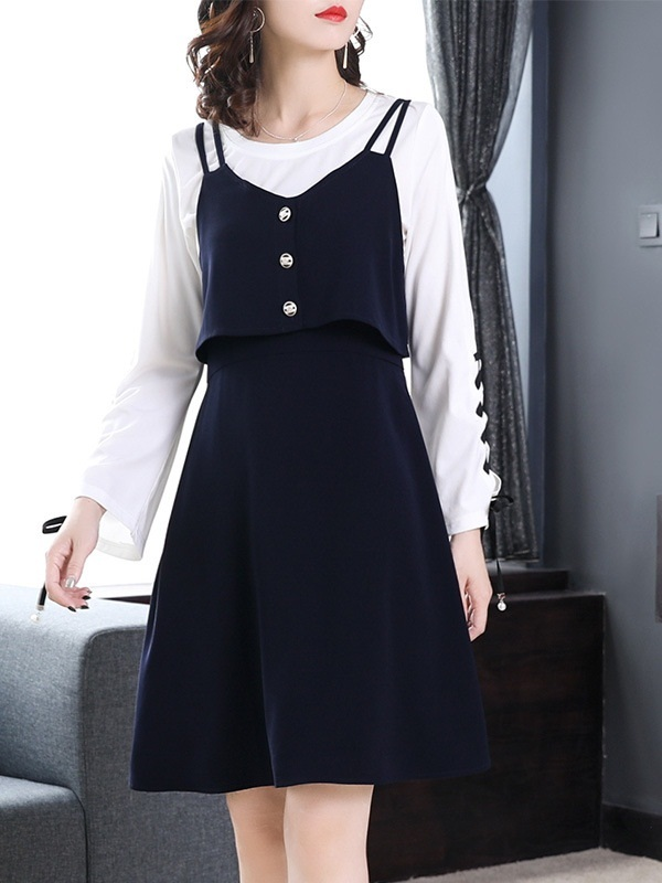 Maralyn Lace Up Bell Sleeve Top and Pinafore Dress Set