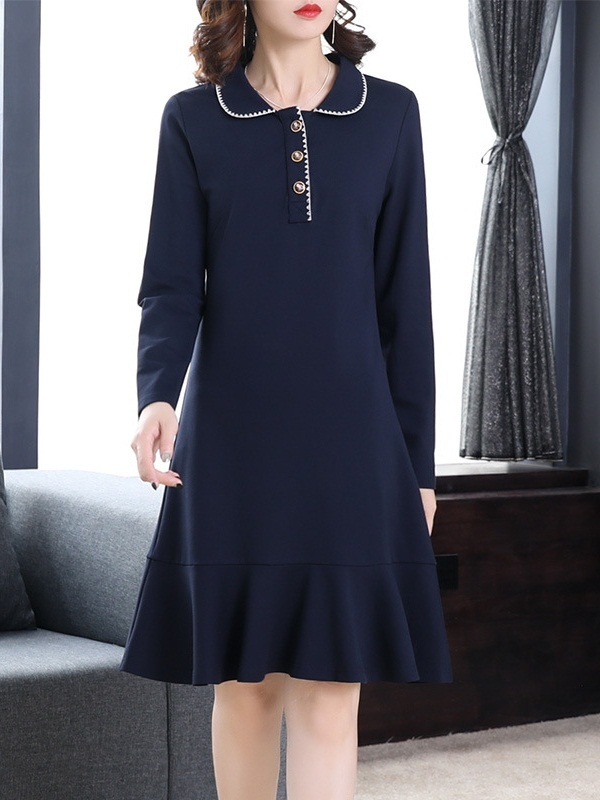 Marabeth Navy Mermaid Shirt Dress