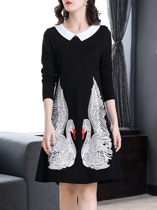 Maple Swan Collar Dress