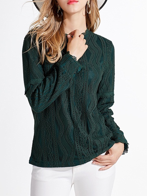 Manuela Fleece-Inside Green Lace Blouse