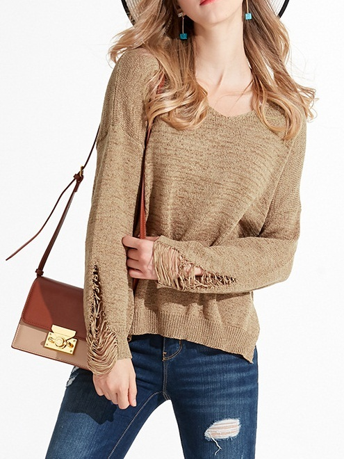Mansi Ripped Knit Sweater