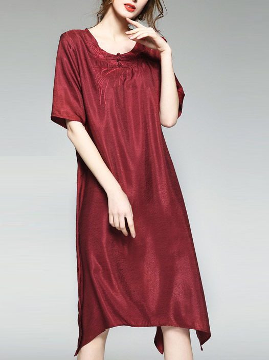 Manoritha Silk Cupro Oriental Longer Side Midi Dress