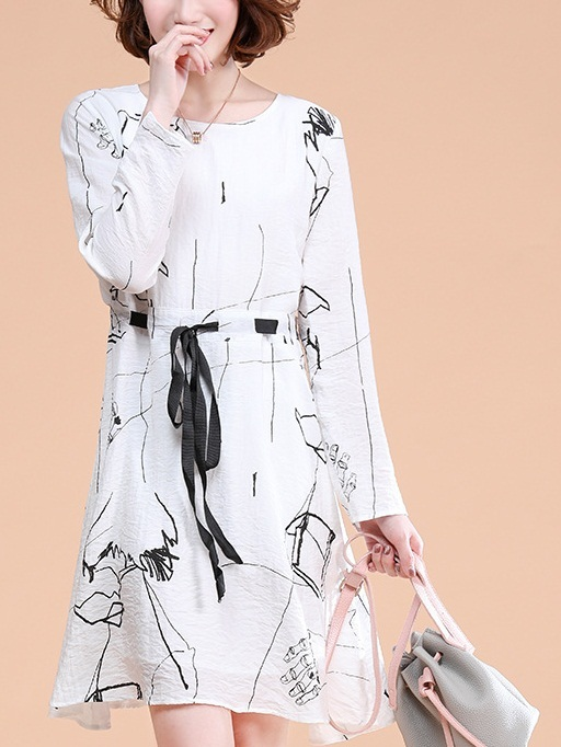 Mariann White Abstract Dress