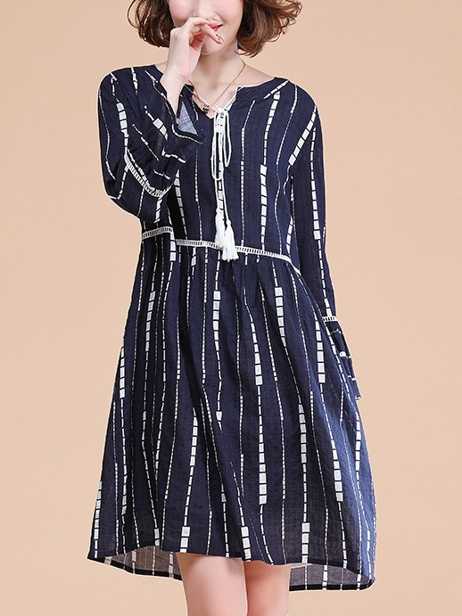 Maribelle Tassel Navy Dress