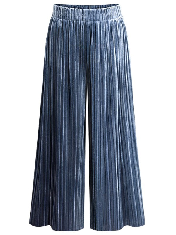 Maricza Velvet Pleat Wide-leg Culottes Pants