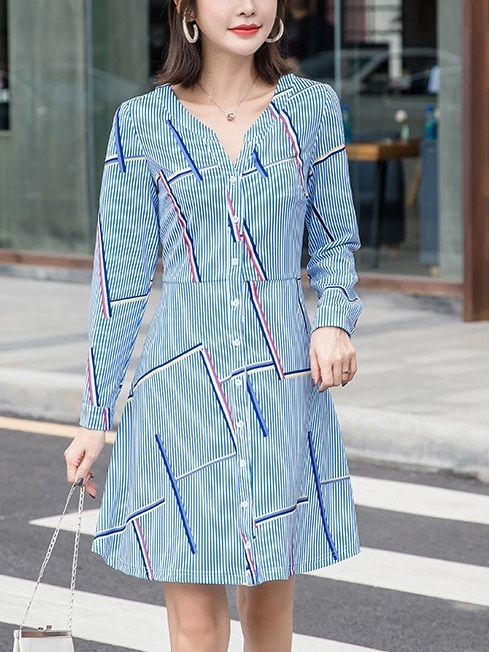 Margy Geometric Button L/s Dress