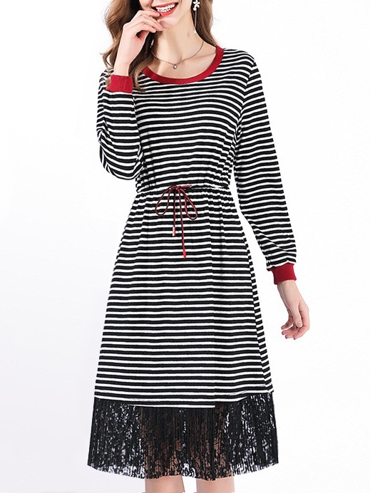 Marienna Stripe Lace Midi Dress