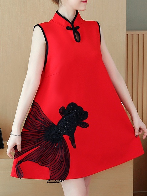 Marya (Bust 92-117CM) Sleeveless Qipao Dress
