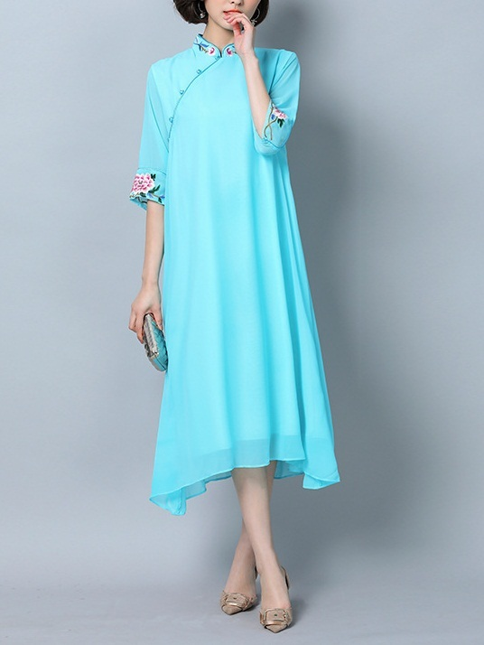 Mary-Kate (Bust 96-120CM) Embroidery Qipao Midi Dress