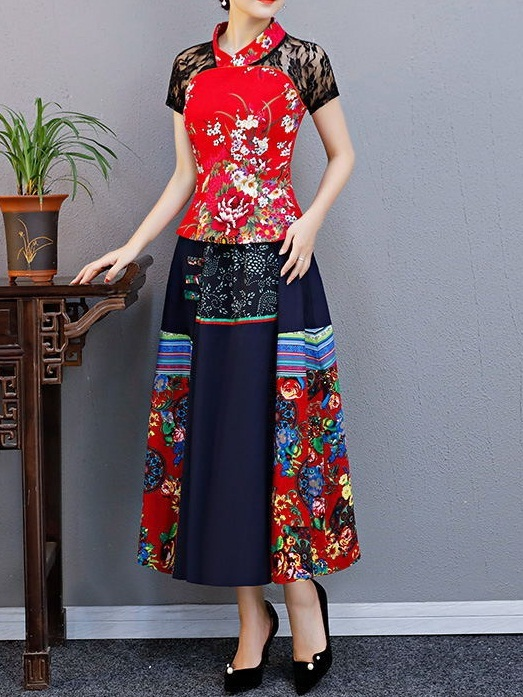 Mary Jane Oriental Patchwork Midi Skirt