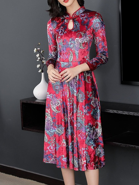 Mary (Bust 94-110CM) Qipao Midi Swing Dress