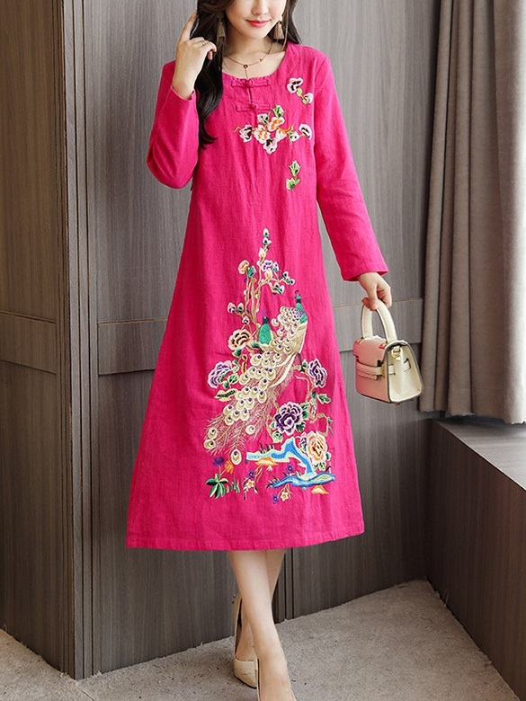 Marwa (Bust 90-110CM) Embroidery Qipao Midi Dress
