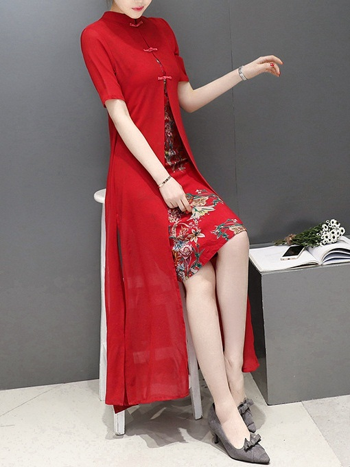 Marvel (Bust 86-102CM) Midi Cover Qipao Dress