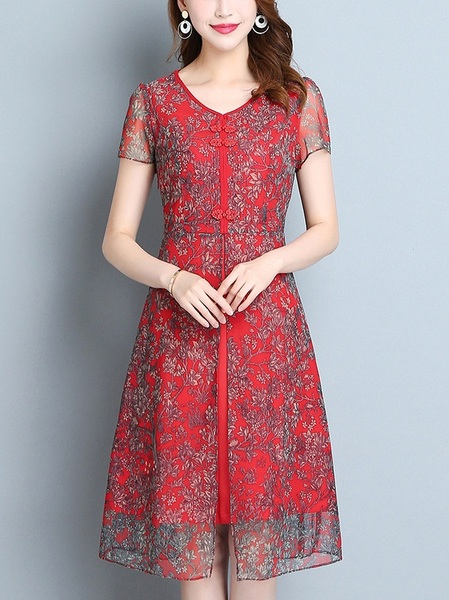 Marusia (Bust 86-106CM) Red Crepe Qipao Detail Dress