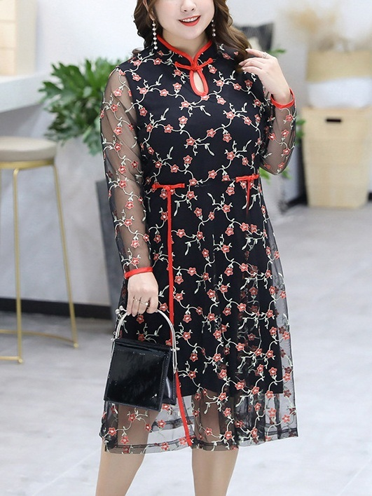 (Bust 102-126CM) Martita Red Floral Lace Qipao Dress