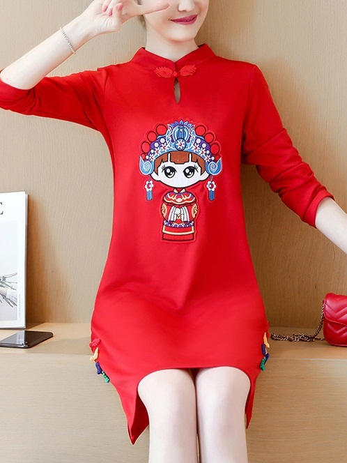 (Bust 92-122CM) Martta Chinese Opera Girl Qipao Dress