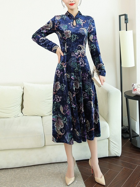 Marty Velvet Qipao Midi Dress