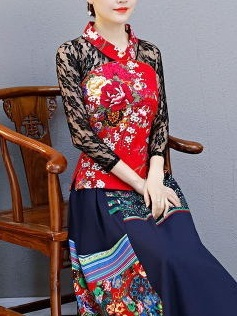 Mary Beth (Bust 88-112CM) Lace Sleeve Qipao Blouse (LONG SLEEVE)