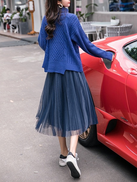 [DEAL!] (Bust 110-122CM) Marthe SET Turtle Neck Knit Sweater and Pleat Tulle Skirt