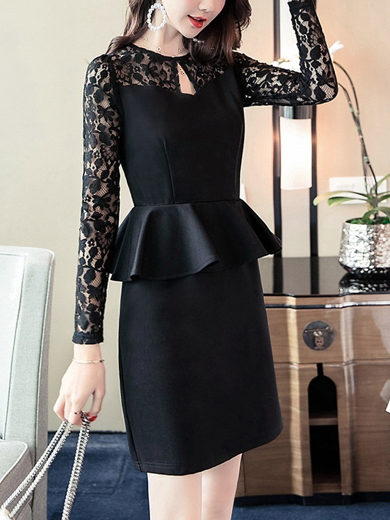 (Bust 82-112CM) Marretje Lace Peplum Dress