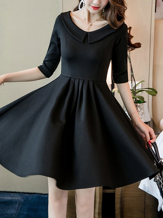(Bust 80-110CM) Marre Peterpan Collar Swing Dress