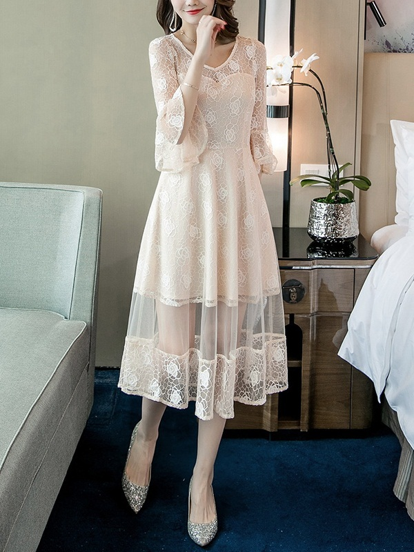 (Bust 84-114CM) Marolyn Sweetheart Lace Midi Dress