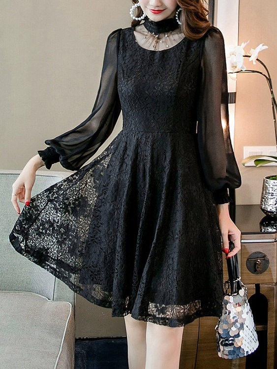 (Bust 84-114CM) Marny Choker Lace Dress