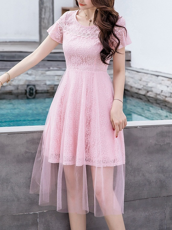 (Bust 84-114CM) Marnica Tulle Lace Dress